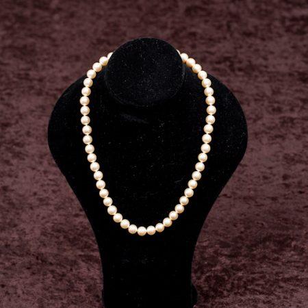 Helmikaulakoru, 45cm Pearl white